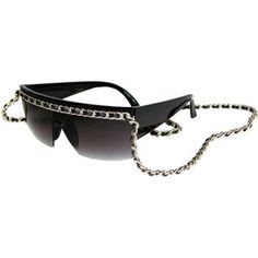 """Designer Inspired! Shield Sunglasses, Embellished w/ Pleather Threaded 34"""" Chain!"""