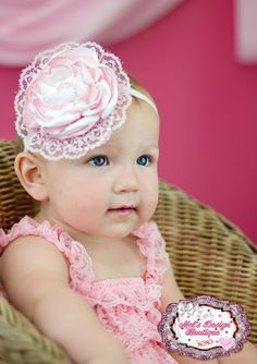Pink white satin singed flower headband , baby girl headband, toddler girl headband, satin flower headband, singed flower headband on Etsy, $12.99