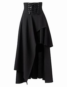 Skirt+Gothic+Lolita+Lolita+Cosplay+Lolita+Dress+Black+Solid+Tea-length+Patched+Skirt+For+Women+Cotton+–+CZK+Kč+1+827