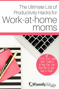 Being productive in our work is a goal all work-at-home moms are after! Click the image to get 20 productivity hacks straight from 20 awesome mom bloggers!!
