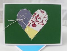 handmade anniversary/love card from My Paper Cat: Have a heart ... die cut patchwork heart ... hand stitched borders ... clean and simple layout ...