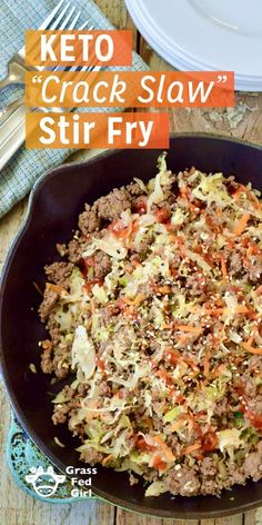 This Keto Crack Slaw Stir Fry tastes amazing and is insanely addictive! With sweet and spicy flavors from cabbage and coconut aminos, this soy free Asian Keto dish is perfect for the paleo Keto Stir Fry, Stir Fry Recipes, Low Carb Recipes, Beef Recipes, Healthy Recipes, Asian Recipes, Dairy Free Keto Recipes, Pork Stir Fry, Flour Recipes