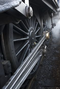 Image detail for -Close-up of steam engine train wheel