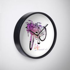 Flower Bikder - Life is a beautiful ride watercolor wall clock inspirational quote #quote #redbubble #ink #bicycle