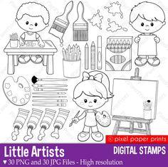 Little artists - Digital stamps set - Art party by pixelpaperprints on Etsy https://www.etsy.com/listing/235972121/little-artists-digital-stamps-set-art