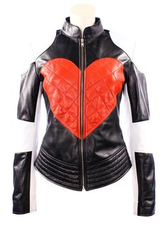 c5bc7b4abd041 Ladies KYLIE Red Heart Timebomb Peace Biker Motorcycle Style Leather Jacket