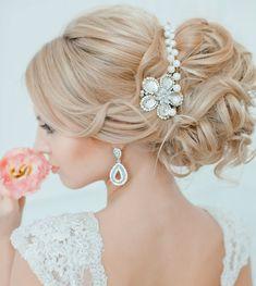 21 Glamorous Wedding Updos for 2018 Diy Wedding Hair, Elegant Wedding Hair, Glamorous Wedding, Perfect Wedding, Wedding Ideas, Quick Hairstyles, Headband Hairstyles, Bridal Hairstyles, Loose French Braids
