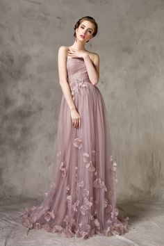 9b90e68be28 Pale Mauve Strapless Bridesmaid Dress with Handmade Flowers Long Women  Evening Wedding Party Gown