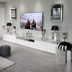 fine Amazing Living Room TV Wall Decor Ideas And Remodel The room will be far more attractive if the subject of conversation isn't about your TV. For insta. Condo Living Room, Ikea Living Room, Living Room Cabinets, Living Room Decor Cozy, Living Room Paint, Living Room Grey, Interior Design Living Room, Living Room Designs, Tv Cabinets
