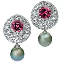Margot McKinney pink tourmaline, white diamond and Tahitian pearl earrings