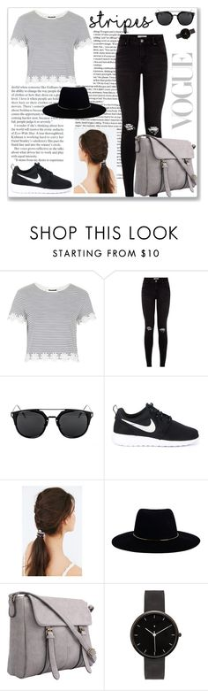 """striped"" by grachyv on Polyvore featuring Topshop, NIKE, JEM, Zimmermann, I Love Ugly and stripes"