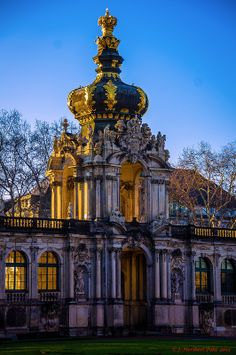 Crown Gate of the Zwinger, a Rocco palace that is now a museum in Dresden, Germany