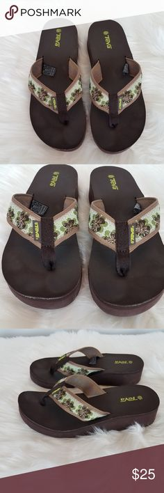 05bab5e92 Teva Flip Flops Womens Size 8 Wedge Brown and Tan Teva Flip Flops Womens  Size 8