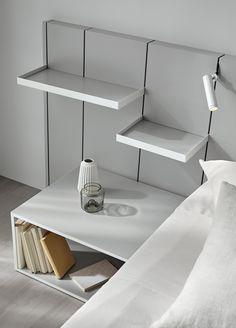 Pars headboard + Daem bedside table by Carlos Tíscar for Mobenia Furniture Making, Bedroom Furniture, Furniture Design, Bedroom Decor, Floating Headboard, Double Headboard, Bed Frame Design, Bed Design, Bed Unit