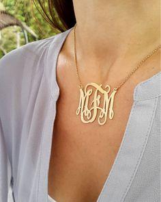 Золото Monogram ожерелье - 1,5-дюймовый - 18k позолоченный над 925 серебра - Начальная кулон ожерелье