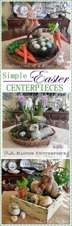 Simple Centerpieces for Easter - Such cute ideas! Tip: Keep inspirational photos like this one on your phone for when you're shopping at Goodwill. That way you'll know what kinds of things you want to look for. www.goodwillvalleys.com/shop/