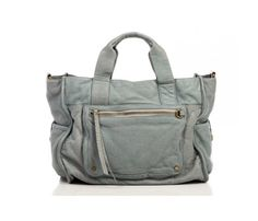 Lovely, Lovely Tote Bag. This color reminds me of light denim, and is made from ultra-soft washed leather.
