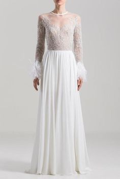 SAIID KOBEISY on Sale: White Long Dress with Round Neckline Buy from Best selection of authentic designer dresses online. Long Summer Dresses, Evening Dresses, Saiid Kobeisy, Gowns With Sleeves, Floor Length Dresses, Dress Cuts, Modest Dresses, Formal Gowns, Dresses Online