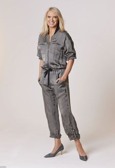 Anneka Rice in grey jumpsuit from Faith connexion at Fenwick Middle Aged Women, Floral Jumpsuit, Style Challenge, Jumpsuits For Women, Gorgeous Women, Rice, Rompers, Lady, How To Wear