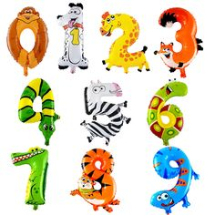 Animals Color Digital baby balloon birthday child one hundred days arranged super cute cartoon aluminum balloons