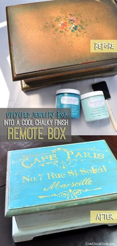 upcycle a jewelry box into a cool remote box with  chalky finish paint