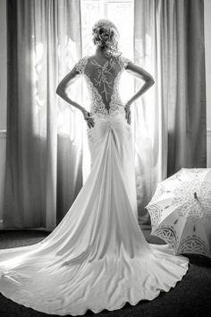 Beautiful back mermaid wedding dress