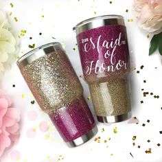 Ombre Glitter YETI - What a fun way to celebrate! Gifted to the maid of honor who happens to enjoy heavy metal #ironmaiden