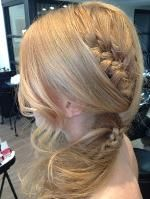 """Peak-a-Boo French Braid -- Get the Steps!  Really cute updo created by Drew Noreen, a stylist at Pucci Salon and artist for The Beauty Agents.  """"I created this look for a client who loves braids... but her hair doesn't hold a curl,"""" Drew said.  CUTE and EASY!"""