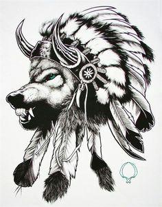 Tattoo idea - Native american, wolf, headdress.