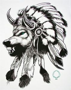 Native american, wolf, headdress.