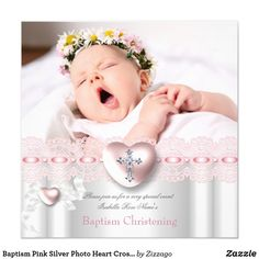 Baptism Pink Silver Photo Heart Cross Girl Card Elegant Pretty Girl Baptism Pink Silver White Lace Photo Jewel Heart Cross, Christening Baptism Invitation. Customize with your own details and Photo. Birth Announcement