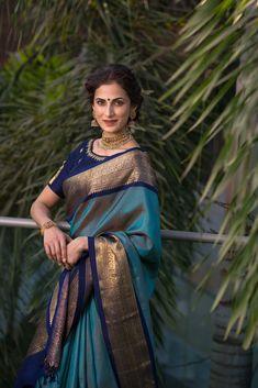 Over - Kanjivaram / Saree Store: Fashion Blue Silk Saree, Kanjivaram Sarees Silk, Khadi Saree, Indian Silk Sarees, Indian Beauty Saree, Saree Blouse, Bridal Sarees South Indian, Bridal Silk Saree, Latest Silk Sarees