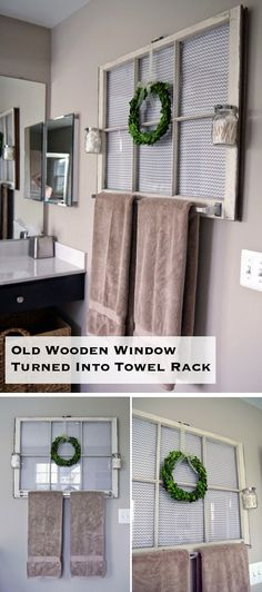 Old Wooden Window Turned Into Towel Rack