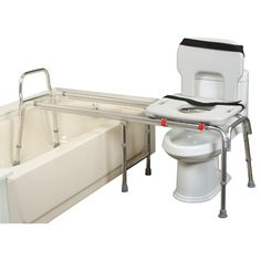 Snap-N-Save Toilet to tub transfer bench smoothly glides the seated user from the tub to the toilet.