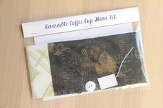 DIY Coffee Cup Sleeve Sewing Kit - Wine Labels and Metallic Gold Crisscrosses - Ready to Ship by CraftyStaci