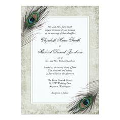 Peacock Wedding Invitations Vintage Peacock Feathers Wedding Card