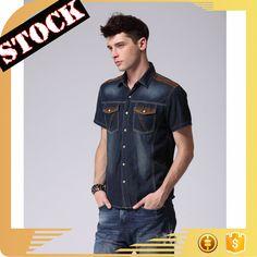 L19 Wholesale Fashion Clothings 2017 Washed Thin Men's Denim T-Shirts Fall Slim Men's Jeans Shirts Plus Size Students Clothings
