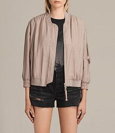 Women's Angie Light Bomber Jacket (Dusty Pink) - product_image_alt_text_1