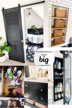 A Small Bathroom that is BIG on Organization! Ways to make a small bathroom maximize storage while maintaining a beautiful appearance! Small Bathroom, Master Bathroom, Bathroom Ideas, Diy Organization, Organizing Ideas, Bathroom Medicine Cabinet, Farmhouse Bathrooms, Storage, Big