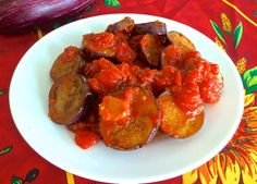 Make this in just 15 minutes! Soft, sweet eggplant in rich tomato sauce. Perfect for a summer lunch.