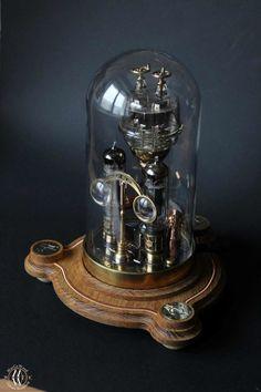 "Steampunk lamp ""Galileo"" • MarCoWood • Steampunk Lab. Steampunk Machines, Steampunk Desk, Arte Steampunk, Steampunk House, Steampunk Interior, Room Lamp, Desk Lamp, The Bell Jar, Bell Jars"