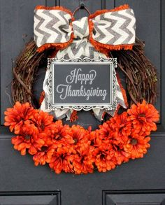 Burlap Pumpkin Wreath Crafts with 2015 Chalkboard Happy Thanksgiving - Grey Cream Chevron Bow