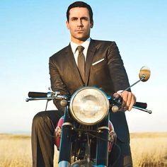 Don Draper from #madmen #dgr #gentlemansride #distinguishedgentlemansride #caferacer #caferacers #bobber #flattracker #gentleman #motorcycle #motorbike #classic #retro