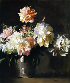 Still LIfe: Vase of Peonies - Edmund Tarbell 1925 American 1862-1938 Oil on canvas. Dimensions: 25 1/8 x 21 3/16 in. (63.8 x 53.8 )