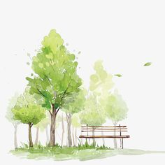 Watercolor Trees, Watercolor Clipart, Green, Hand Painted PNG Transparent Clipart Image and PSD File Watercolor Scenery, Watercolor Paintings For Beginners, Watercolor Projects, Watercolor Landscape Paintings, Watercolor Images, Easy Watercolor, Watercolor Techniques, Watercolor Flowers, Watercolor Artists