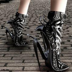 futuristic shoes, future girl, futuristic fashion, avant-garde fashion, futuristic style by FuturisticNews.com