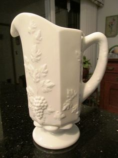 Milk Glass Pitcher by Westmoreland.  Paneled Grape Pattern *MINT* Maker's Mark #MilkGlass