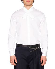 DSQUARED2 Crossover-Collar Dress Shirt, White. #dsquared2 #cloth #