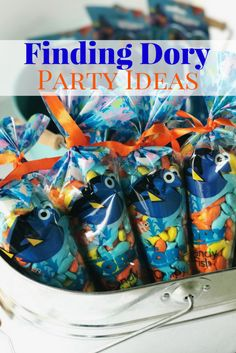 Plan your Finding Dory Party with these budget tips! We had a Disney Kids Preschool Playdate and purchased most our our party supplies at The Dollar Store. Inexpensive party ideas for Finding Dory games, decorations, food, and party favors!