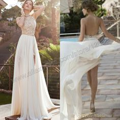 High Neck Ivory Chiffon Backless Prom Dress 2014 Party Dress Cocktail Gowns High Low 2014 Free Shipping